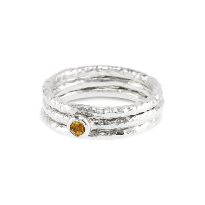 Silver stacking rings handmade in a set of 3 the centre  ring set with a citrine. - Paul Magen
