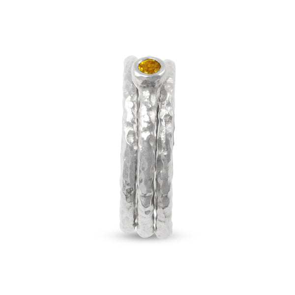 Silver stacking rings handmade and set with a citrine. - Paul Magen