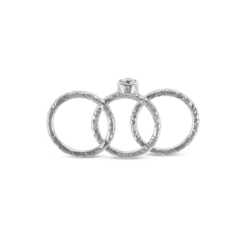 Handmade silver stacking rings in sets of 3 the centre ring set white cubic zirconia