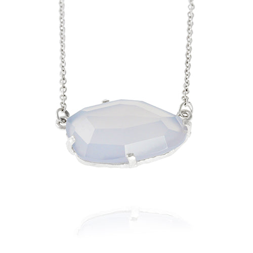 Handmade sterling silver necklace set with chalcedony gemstone.