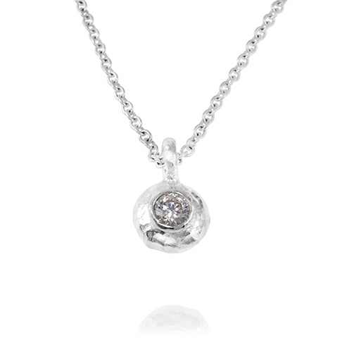 "Duco pendant in Sterling silver set with 4mm white cubic zirconia on 16"" 41cm trace chain"