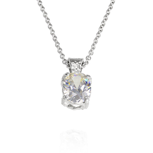 "Alveus pendant in sterling silver set with  10 x 8mm white cubic zirconia on a 16"" 41cm trace chain"