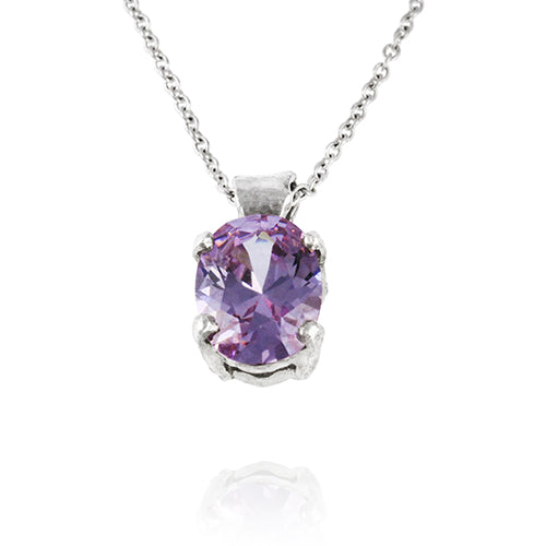 Silver necklace set with a lilac coloured cubic zirconia on a silver chain.