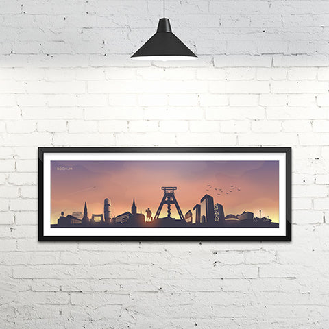 Skyline Bochum Kunstdruck - Sunset Edition (120 x 40 cm)