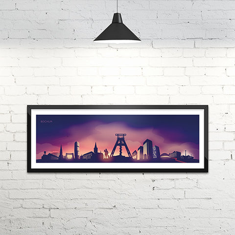 Skyline Bochum Kunstdruck - Twilight Edition (120 x 40 cm)