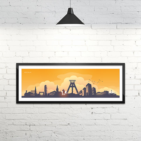 Skyline Bochum Kunstdruck - Yellow Edition (120 x 40 cm)
