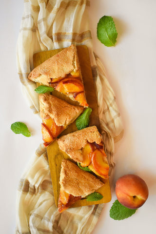 slices of peach galette