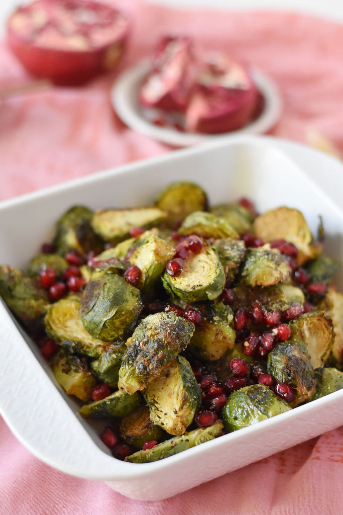 """Vegan """"Cheesy"""" Brussels Sprouts"""