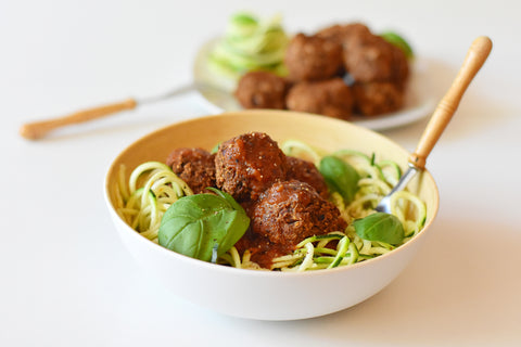 Zoodles with Vegan Meatballs