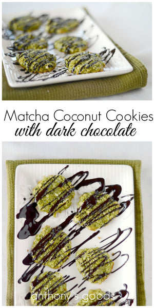 Matcha Coconut Cookies with Dark Chocolate