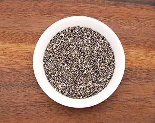 This is an image of a small white bowl containing organic chia seeds from Anthony's Goods