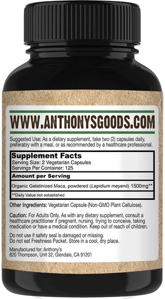Maca Root Supplement: 250 Veggie Capsules, 1500mg per Serving