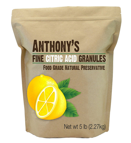 Image of a small brown package from Anthony's Goods containing Granular Citric Acid