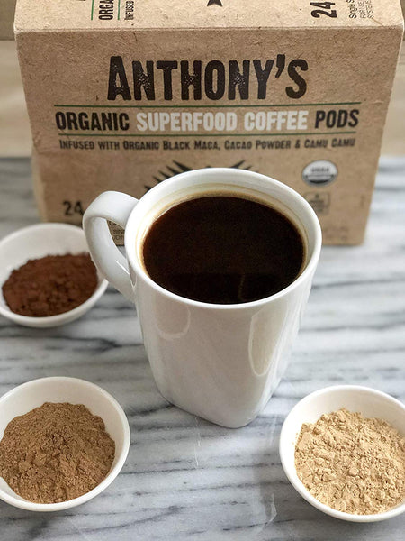 Organic Superfood Coffee Pods: Peruvian Superfood Blend infused with Organic Black Maca, Cacao Powder & Camu Camu