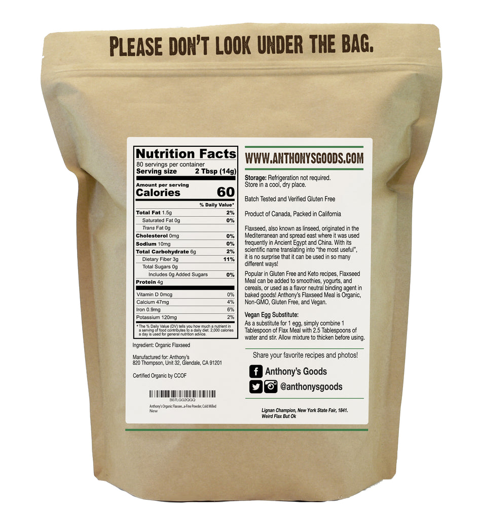 Flaxseed Meal Usda Organic Gluten Free Ground Ultra Fine Anthony S Goods