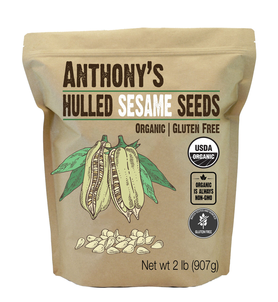 Hulled White Sesame Seeds: USDA Organic & Batch Tested Gluten Free