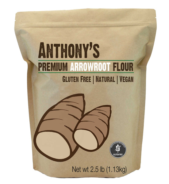 Image of a small brown package from Anthony's Goods containing Arrowroot Powder