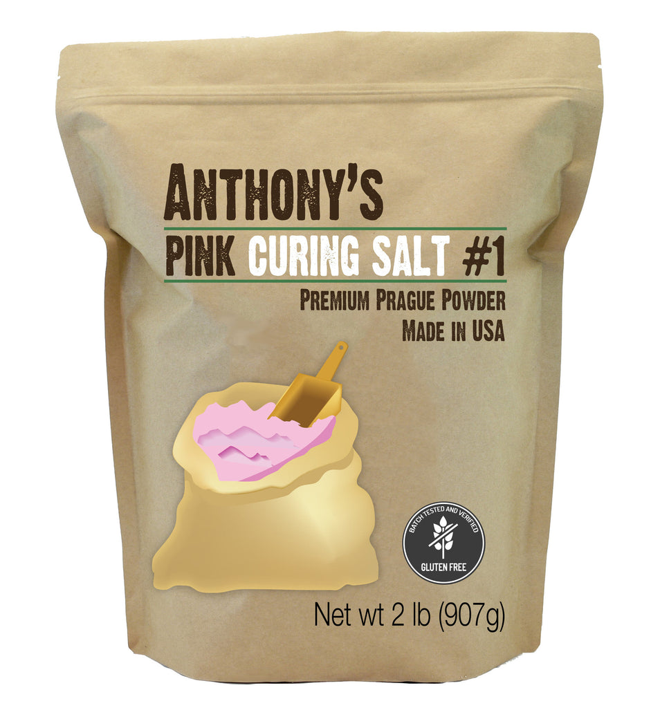 Image of a small brown package from Anthony's Goods containing Premium Pink Curing Salt