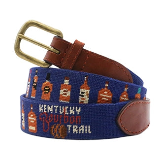 Kentucky Bourbon Trail Bottles Needlepoint Belt on Blue by Smathers & Branson