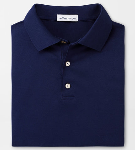 Solid Mercerized Polo in Navy by Peter Millar