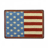 Stars and Stripes Needlepoint Card Wallet in Blue by Smathers & Branson
