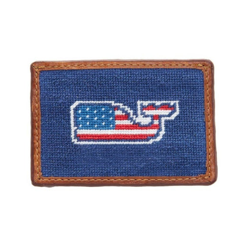 Flag Whale Needlepoint Card Wallet by Vineyard Vines x Smathers & Branson