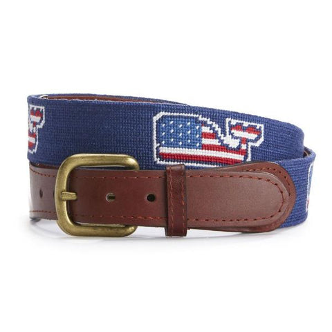 Flag Whale Needlepoint Belt on Vineyard Blue by Vineyard Vines x Smathers & Branson