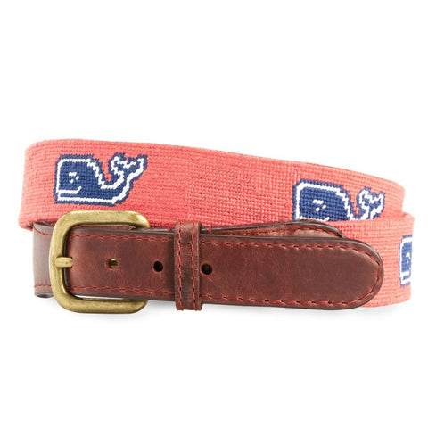 Classic Whale Needlepoint Belt on Salmon Pink by Vineyard Vines x Smathers & Branson