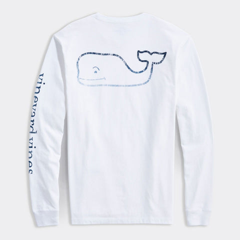 Faded Vintage Whale Long Sleeve Tee in White Cap by Vineyard Vines