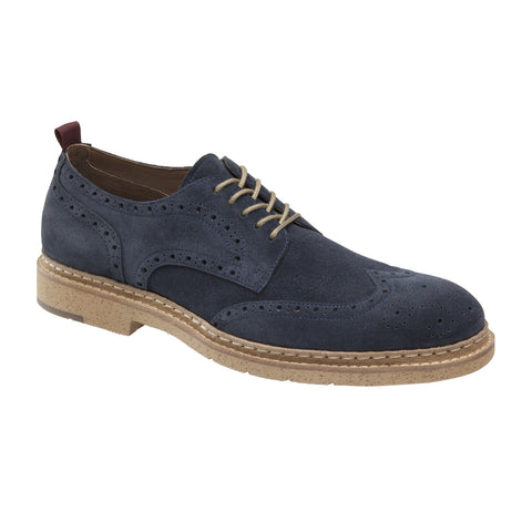 Pearce Wingtip in Navy Suede by Johnston & Murphy