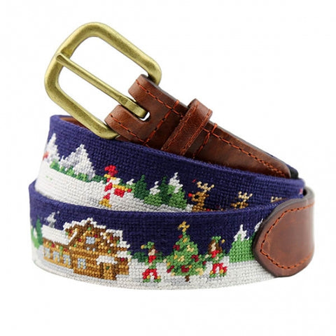 North Pole Needlepoint Belt on Navy by Smathers & Branson