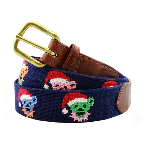 Grateful Dead Santa Bears Needlepoint Belt on Dark Navy by Smathers & Branson