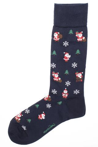 Santa Clause OTC Socks in Navy by Marcoliani