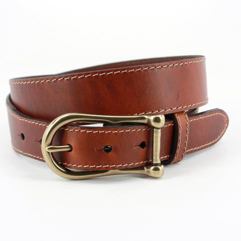 Waxed Glove Leather Belt in Chestnut by Torino Leather Co.