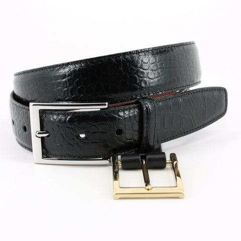 Alligator Grain Embossed Calfskin Belt in 3 Colors by Torino Leather Co.