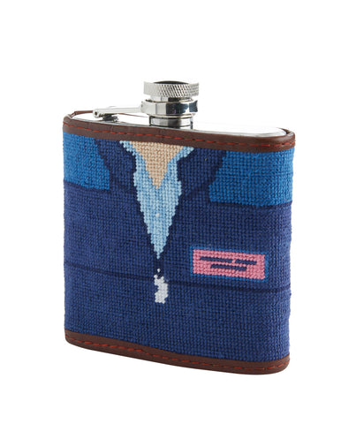Shep Shirt Needlepoint Flask on Vineyard Navy by Vineyard Vines x Smathers & Branson