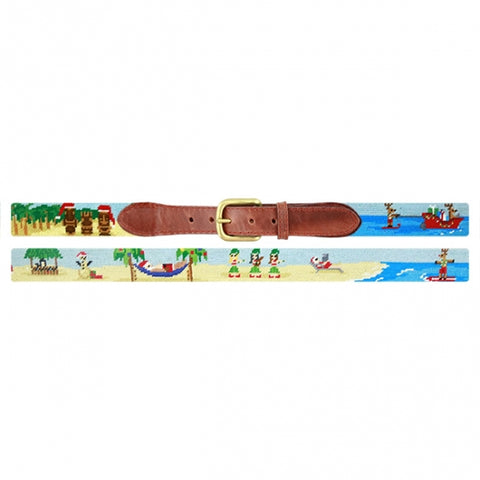 Tropical Christmas Needlepoint Belt on Blue by Smathers & Branson