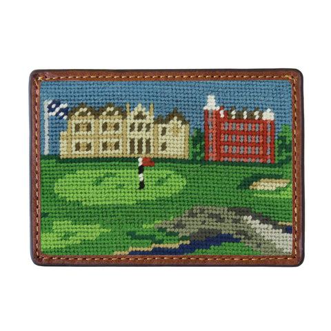 St. Andrews Scene Needlepoint Card Wallet in Green by Smathers & Branson