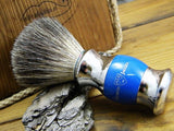 Pure Badger Shaving Brush in Blue & Chrome by Edwin Jagger