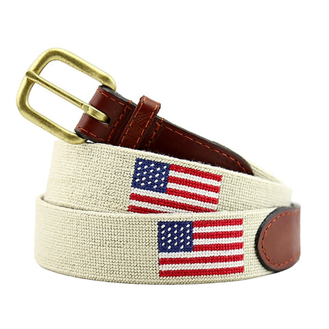 American Flag Needlepoint Belt on Light Khaki by Smathers & Branson