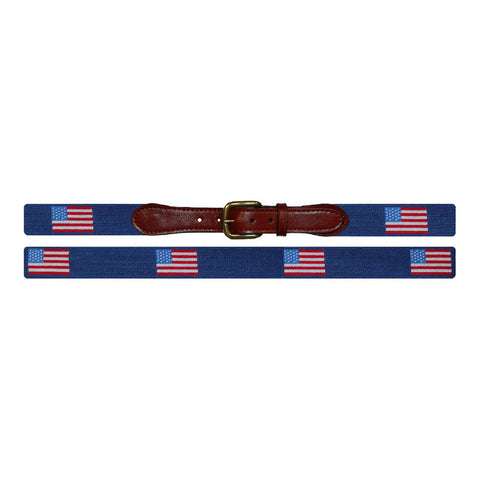 American Flag Needlepoint Belt in Navy by Smathers & Branson