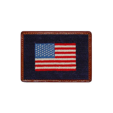 american flag needlepoint card wallet in navy by smathers branson