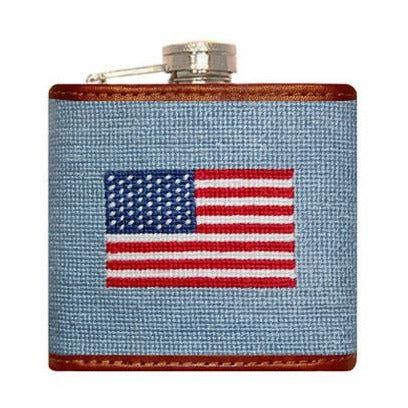 American Flag Needlepoint Flask in Antique Blue by Smathers & Branson