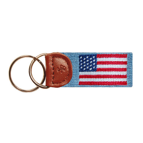 American Flag Needlepoint Key Fob in Antique Blue by Smathers & Branson