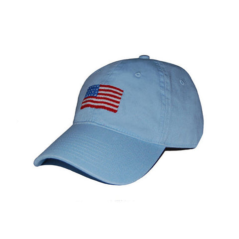 American Flag Needlepoint Hat in Antique Blue by Smathers & Branson