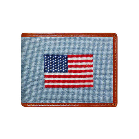 American Flag Needlepoint Wallet in Antique Blue by Smathers & Branson