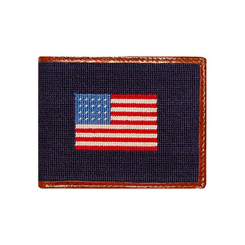 American Flag Needlepoint Wallet in Navy by Smathers & Branson