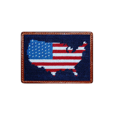 Americana Needlepoint Card Wallet in Navy by Smathers & Branson