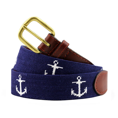 Anchor Needlepoint Belt on Dark Navy by Smathers & Branson