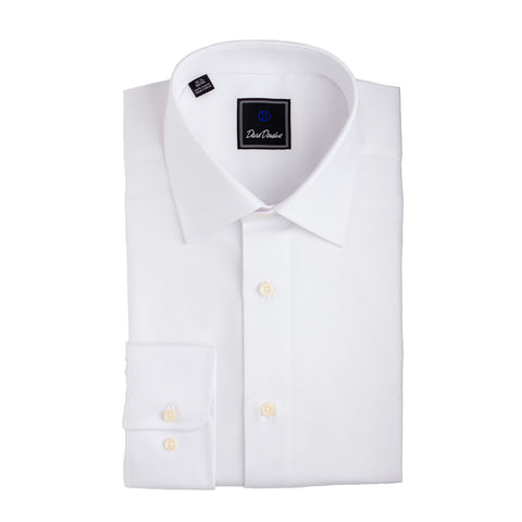 Royal Oxford Barrel Cuff Trim Fit Dress Shirt in White by David Donahue